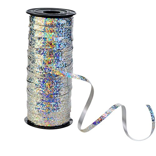 Nydotd Crimped Curling Ribbon Roll, 100 Yard Metallic Silver Balloon Ribbons Strings for Party Festival Flowers Crafts Christmas Gift Wrapping, 5 mm Width