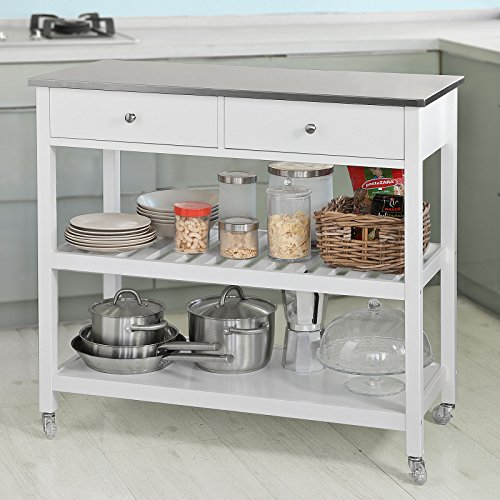 Haotian FKW47-W, White Kitchen Storage Serving Trolley Cart with Stainless Steel Worktop, W100 x D45 x H92cm