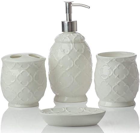 Amazon Com Designer 4 Piece Ceramic Bath Accessory Set Includes Liquid Soap Or Lotion Dispenser W Toothbrush Holder Tumbler Soap Dish Moroccan Trellis Contour White Holds 15 6oz Home Kitchen