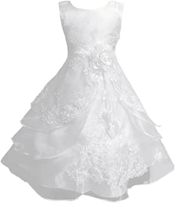 Flower Girl Dress Organza with Embroidery Sequins