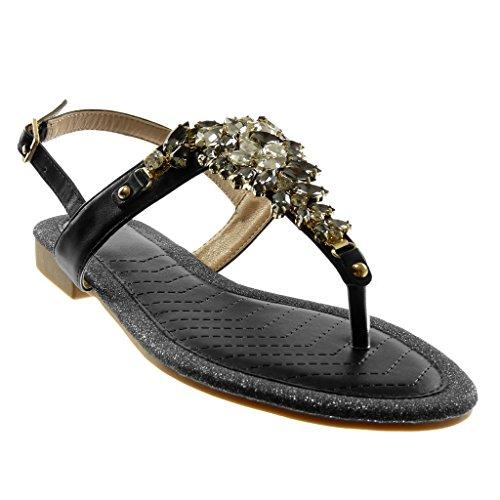 Angkorly Damen Schuhe Sandalen Flip-Flops - Knöchelriemen - T-Spange - Schmuck - Strass - Glitzer Blockabsatz 1.5 cm Schwarz