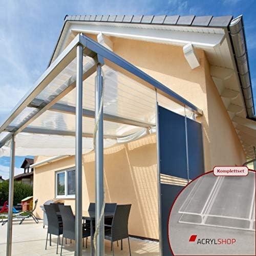 ACRYLSHOP24 - Cubierta para terraza de cristal acrílico 16/64 planchas alveolares incoloras, varias medidas disponibles: Amazon.es: Jardín