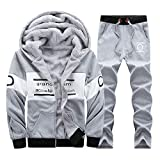 Pervobs Mens Winter Thickening Warm Long Sleeved Hoodie Leisure Suit Tops Pants Sets