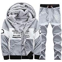 L,Gray Sharemen Mens Autumn Winter Sweatshirt Top Athletic Full-Zip Jogger Sweat Suit
