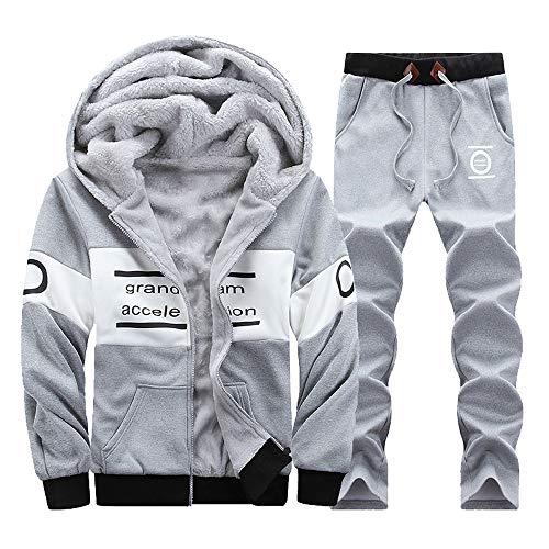 REYO Men's Sweatpants Clearance Sale Winter Long Sleeved Hoodie Thickening Leisure Suit Tops Pants Sets Jogger Trousers by REYO-pants