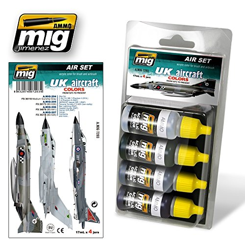 Ammo of Mig UK AIRCRAFT COLORS from 50s to present Acrylic Set 4 Jars 17ml - Uk Colors