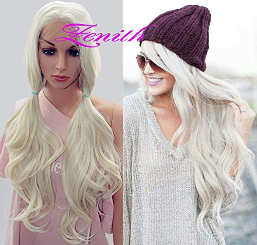 Zenith Fairy-Style Platinum Blonde Lace Front Wigs All-purpose Cosplay Wigs 24'' (Platinum (White Blonde Wig)