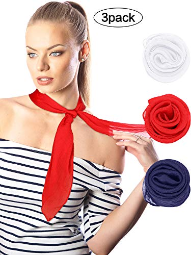 (Boao Chiffon Scarf Polyester Scarf Bandana Soft Ribbon Scarf Satin Ribbon Scarves for Women and Girls, 27.5 by 27.5 Inches (Set 3))