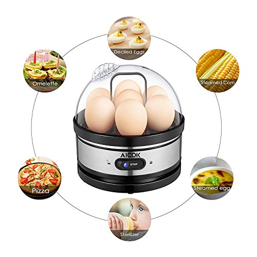 Egg Cooker, Aicok 7 Egg Capacity Egg Boiler, Soft Hard Boiled Egg Maker Included Steamer Poacher Removable Tray Rapid Egg Steamer Auto Shut Off Feature