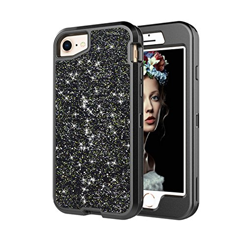 Co-Goldguard iPhone 6s Case,Case for iPhone 6 Glitter Case Sparkle Bling Cover Heavy Duty Shinning Hard PC and Soft TPU Rubber Bumper Full Protective Shell with Front Cover,Black ()