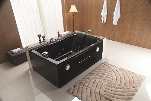 Two Jetted Tub (2 Person Jetted Whirlpool Massage Hydrotherapy Bathtub Tub Indoor w/ Bluetooth - BLACK)