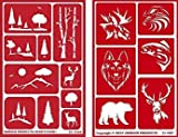 Over 'n' Over Reusable Self-Stick Etching Stencil for Glass (or Stamping) - Bundle of Two Sets - Landscapes & Wild Animals