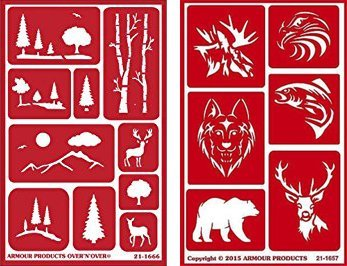 Over 'n' Over Reusable Self-Stick Etching Stencil for Glass (or Stamping) - Bundle of Two Sets - Landscapes & Wild Animals by Over n Over