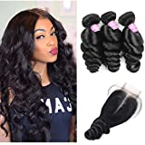 Mink Hair Loose Wave Bundle with Closure 14 16 18 & 12 Middle Part Lace Closure 120% Density Unprocessed Peruvian Virgin Loose Wave Human Hair Weave Natural Black
