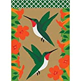 Hovering Hummingbirds Coral Florals And Leafy Greens 30 x 44 Large House Flag