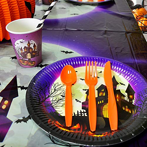 Halloween Disposable Paper Plates, Halloween Party Round Dessert Paper Plates Tableware, Halloween Themed Party Supplies, Pack of 20 ()