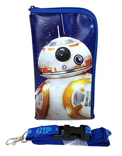 Star Wars The Force Awakens Storm Trooper Keychain Lanyard Id Ticket Holder for Most Phones- Black (BLUE-BB8)
