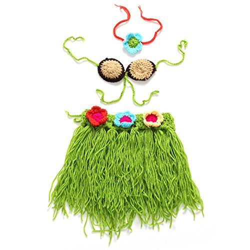 ViewHuge Baby Clothes for Photography Newborn Baby Handmade Knitted Photography Suit Photo Prop Outfit Clothes Headband Grass Skirt Set - Grass Photo Charm