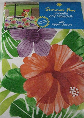 Summer Fun Flannel Back Vinyl Umbrella Tablecloths with Hole and Zipper- Tropical Floral Assorted Sizes (60 x 84 Oblong)