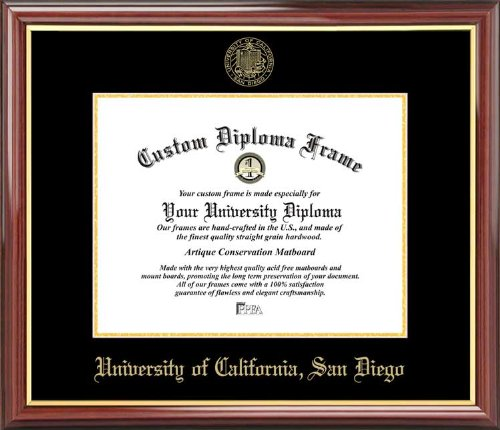 Laminated Visuals University of California San Diego Tritons - Embossed Seal - Mahogany Gold Trim - Diploma Frame