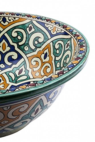 Round Di 40 cam H 16 cm FES//Tanger Multicoloured Ceramic Hand Painted Moroccan Bathroom Sink Basin Painted Inside Out