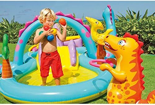 Intex Dinoland Stazione di Gioco Gonfiabile, Dimensioni 332,7 cm x 228,6 x 111,8 cm, per Bambini dai 2 Anni in su