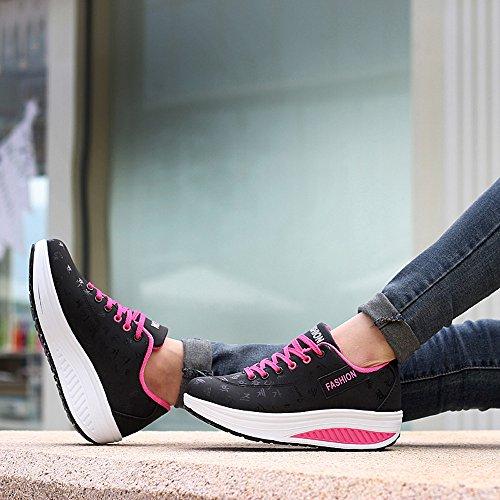 Appartements Sport Mode Femme sonnena De En Chaussures Compensée Femmes Croissante Bottes Marchant Hauteur Chaussure Décontractée Noir vFA1qw