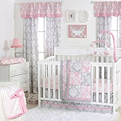 Pink and Grey Damask Patchwork 4 Piece Baby Crib Bedding Set for girls by The Peanut Shell