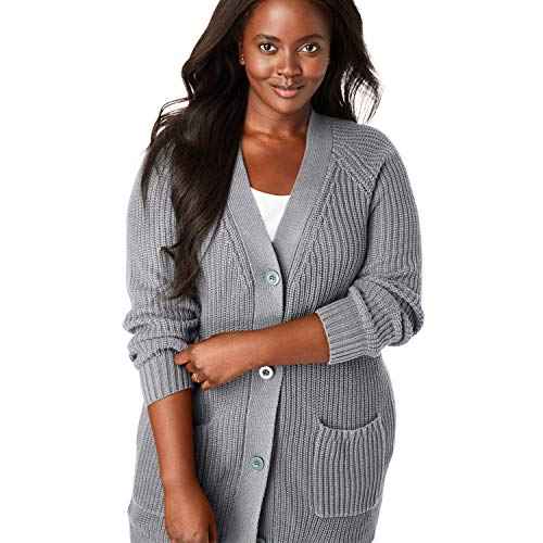 Woman Within Women's Plus Size Button Front Shaker Cardigan - Heather Grey, 22/24