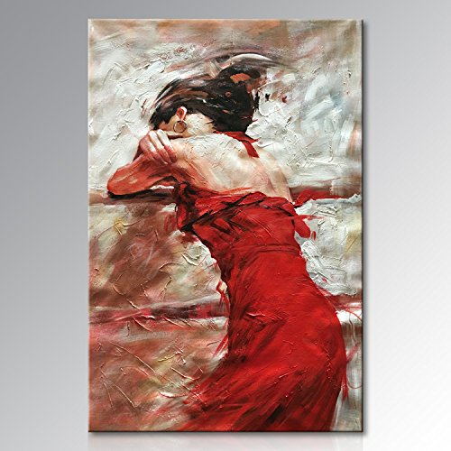 Seekland Art Hand painted Large Sexy Lady with Red Dress Abstract Canvas Wall Art Impression Oil Painting Modern Contemporary Artwork Fine Pictures Unframed (3648 inch) by Seekland Art