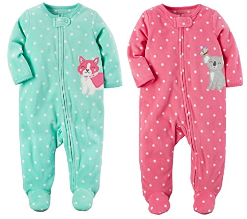 4a93c195c Carters Baby Toddler Girls 2 Pack Fleece Footed Pajama Sleep and ...