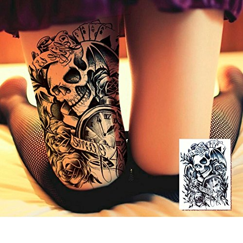 Dio De Los Muertos Costume (DAY OF THE DEAD DIO DE LOS los muertos Skull temporary TATTOO body art metallic flash tattoo body stickers 3d body glam Water transfer size large)