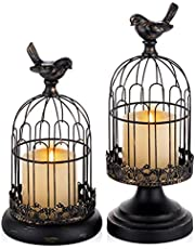 Decorative Candle Holders for Pillar Candles - Set of 2 Cage Lanterns for Candlestick Holder Gothic Vintage Home Decoration Halloween Table Centerpiece Mantel Decor, 10''/12''Tall, Distressed Black