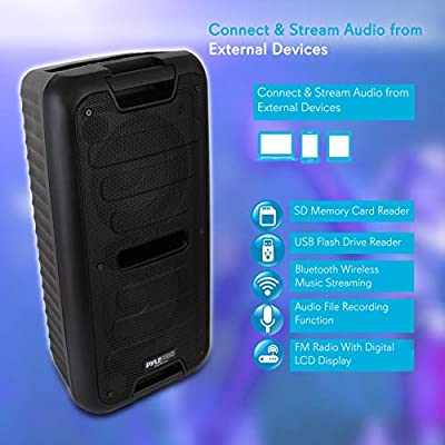 "Wireless Portable PA Speaker System - 360W Bluetooth Compatible Battery Powered Rechargeable Outdoor DJ sound Speaker Microphone Set with MP3 USB SD FM Radio RCA 1/4"" Mic In AUX Wheels - Pyle PPHP28BA from Sound Around"