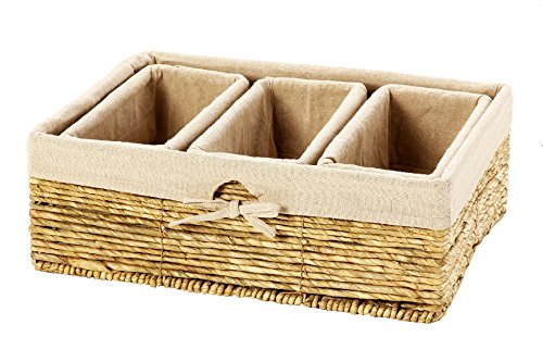 Set of 4 Storage Baskets – Nesting Storage Basket Set in 2 Sizes - Decorative Wicker Corn Rope Home Organizer Bins, 1 Large Size Basket with 3 Smaller Storage Baskets (White Wicker Storage Baskets With Lids)