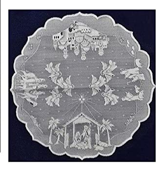 Heritage Lace Nativity Scene White 48u0026quot; Round Lace Table Topper