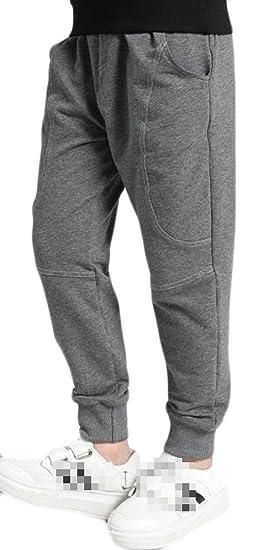 Cromoncent Boys Winter Sports Pocket Fleece Lined Hip Hop Jogger Pants Gray 4T