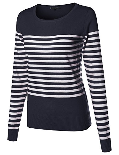 Navy Blue Striped Sweater (Made by Emma Round Neck Striped Pullover Long Sleeve Top Navy M)
