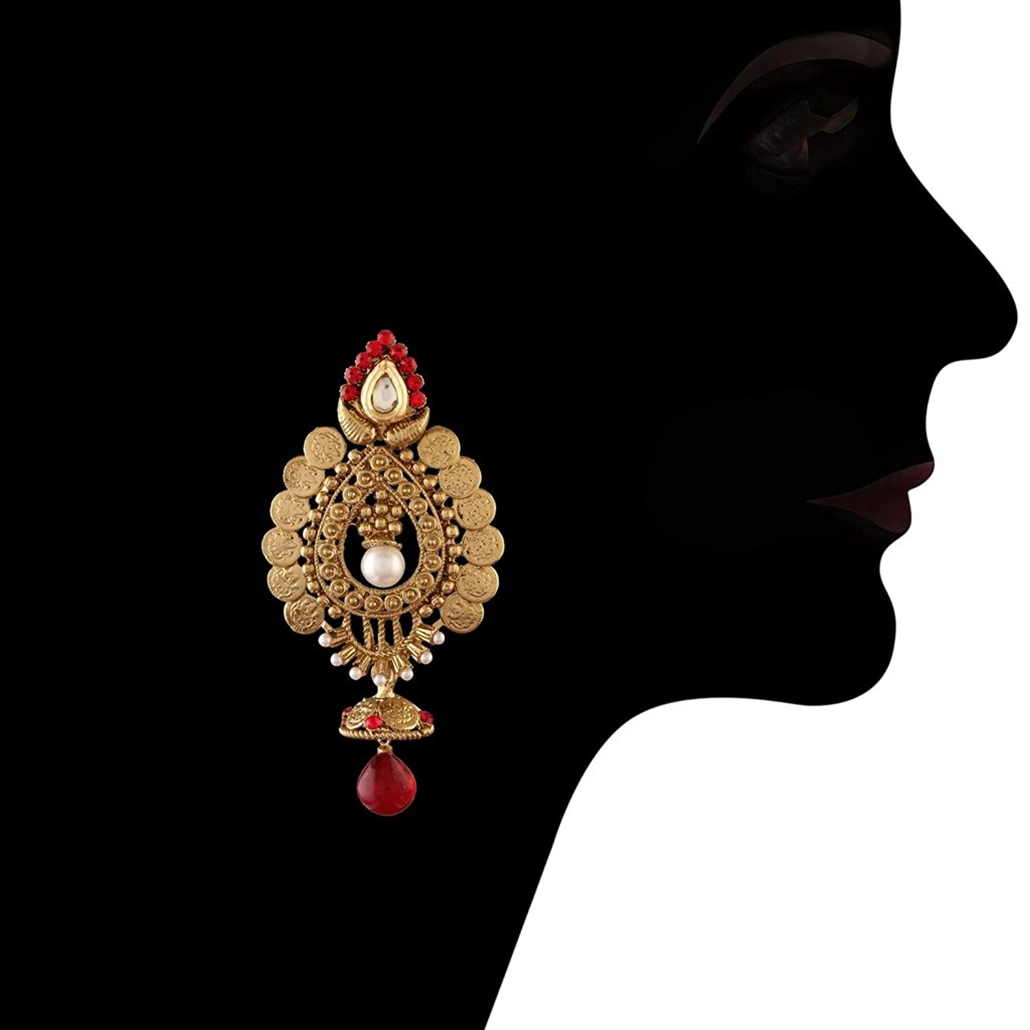Amazon.com: I Jewels Traditional Gold Plated Temple Jhumka ...