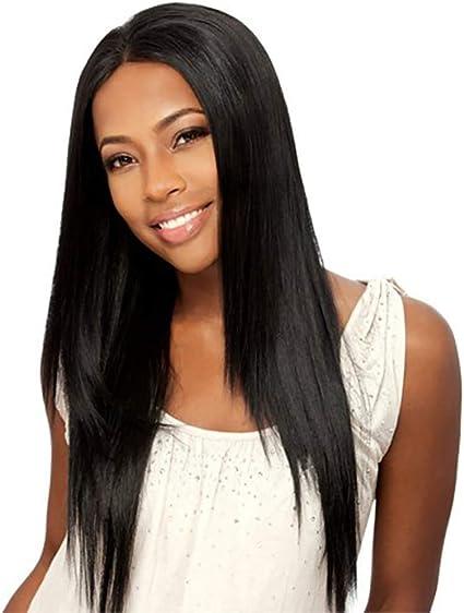 Xiton 1 UNID Larga Peluca Recta Negra Resistente al Calor Pelo Sintético Pelucas de Partida Media Peluca Negra Natural Para Mujeres Uso Diario Cosplay: Amazon.es: Belleza