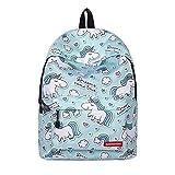Moolecole Unicorn Kids School Backpack for Girls Boys Students School Bag Children Travel Outdoor Daypack(Green Unicorn)
