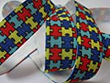 Autism Awareness Print - Fold Over Elastic - 5/8'' Wide, 10 Yards. For DIY Headbands, Wristbands, or Hair Ties!