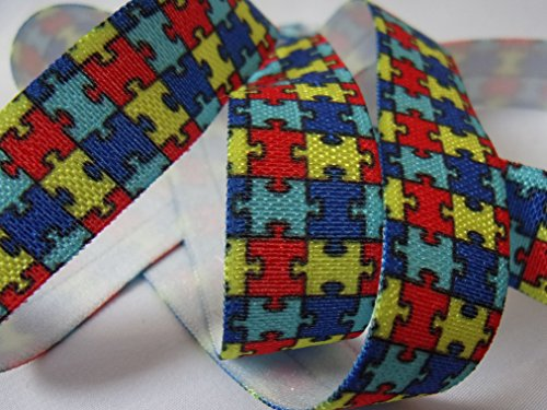 Autism Awareness Print - Fold Over Elastic - 5/8'' Wide, 10 Yards. For DIY Headbands, Wristbands, or Hair Ties! by Sold by Christmas City Ribbons and Bows (Image #1)