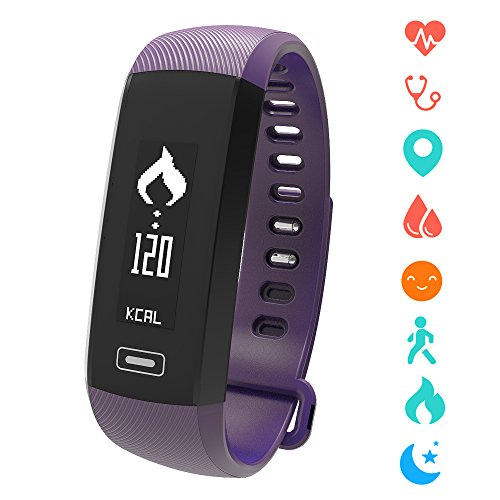 ISTYLE M2 Smart Band Bluetooth Wristband Blood Pressure/Blood Oxygen/ Sleep monitor /Heart Rate Monitor/Pedometer Fitness Tracker For IOS Android Smart Phone (Purple)