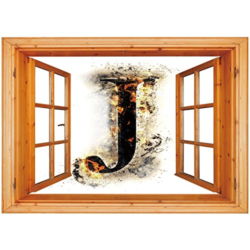 3D Depth Illusion Vinyl Wall Decal Sticker [ Letter J,Majuscule J Burning Effects Retro Alphabet English Gothic Influence Image Decorative,Tan Black Yellow ] Window Frame Style Home Decor Art Removabl -