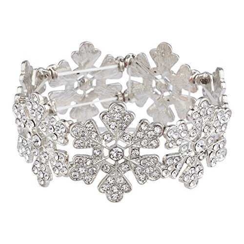 Lux Accessories Silver Tone Clear Snowflakes Rhinestone Crystals Stretch Bracelet