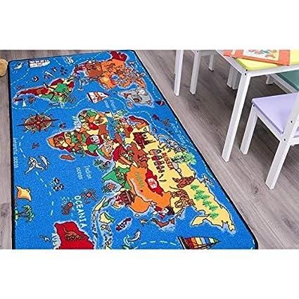 Kinderteppich Weltkarte Spielteppich mit Welt /& Meer Gr/ö/ße 95 x 200 cm
