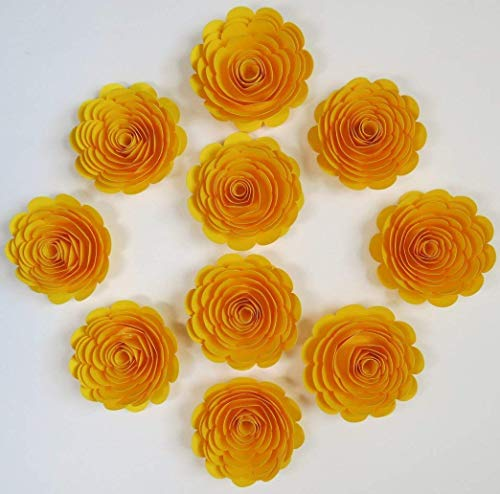 10 Bright Yellow Paper Roses, Large Loose 3