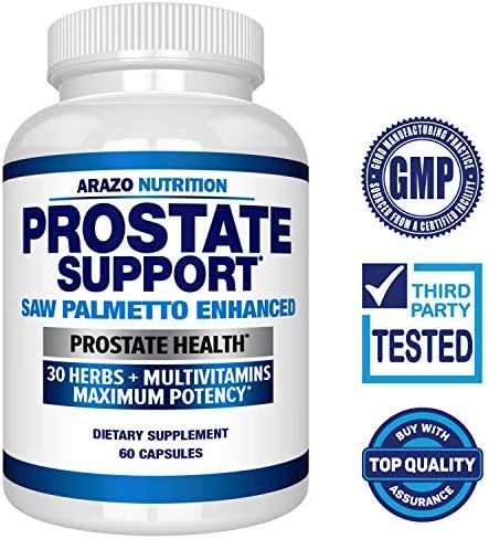 Prostate Supplement – Saw Palmetto 30 Herbs – Reduce Frequent Urination, Remedy Hair Loss, Stamina Single Homeopathic Herbal Extract Health Supplements – Capsule or Pill – Arazo Nutrition