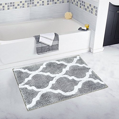 (Pauwer Microfiber Bathroom Rugs Geometric, Non Slip Bath Rugs Floor Mat Machine Washable (18×26